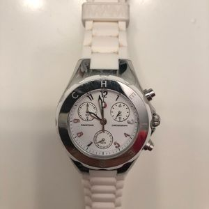 Michele Tahitian Jelly Bean Watch- white / silver
